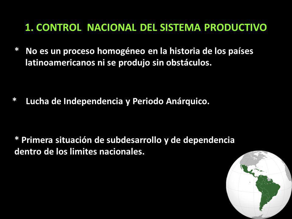 1. CONTROL NACIONAL DEL SISTEMA PRODUCTIVO * No es un proceso homogéneo en la historia de los países latinoamericanos ni se produjo sin obstáculos. *