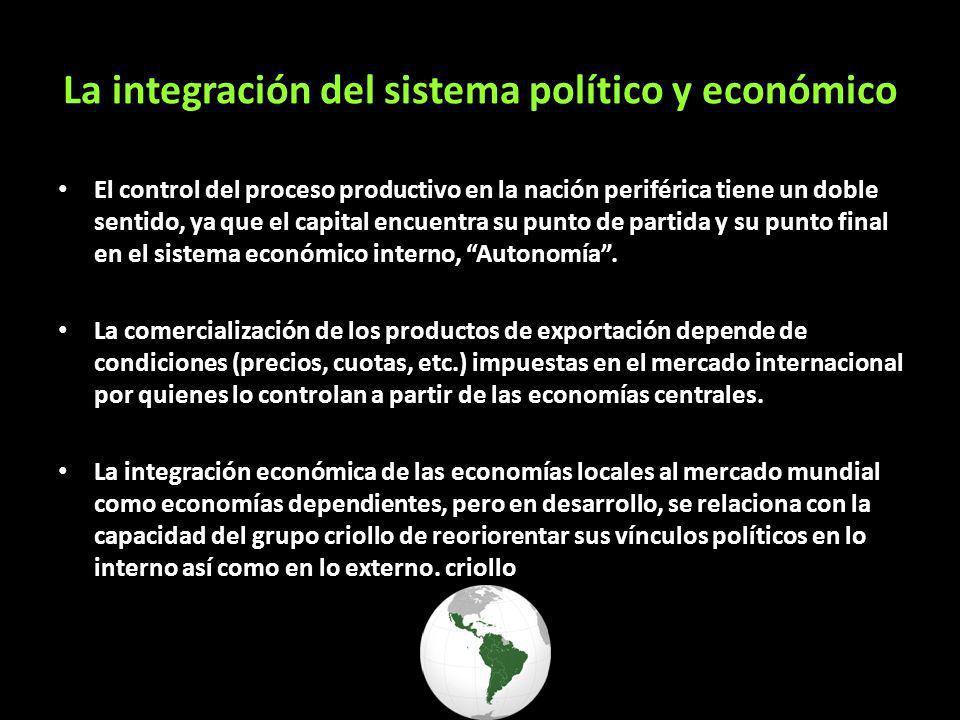 La integración del sistema político y económico El control del proceso productivo en la nación periférica tiene un doble sentido, ya que el capital en