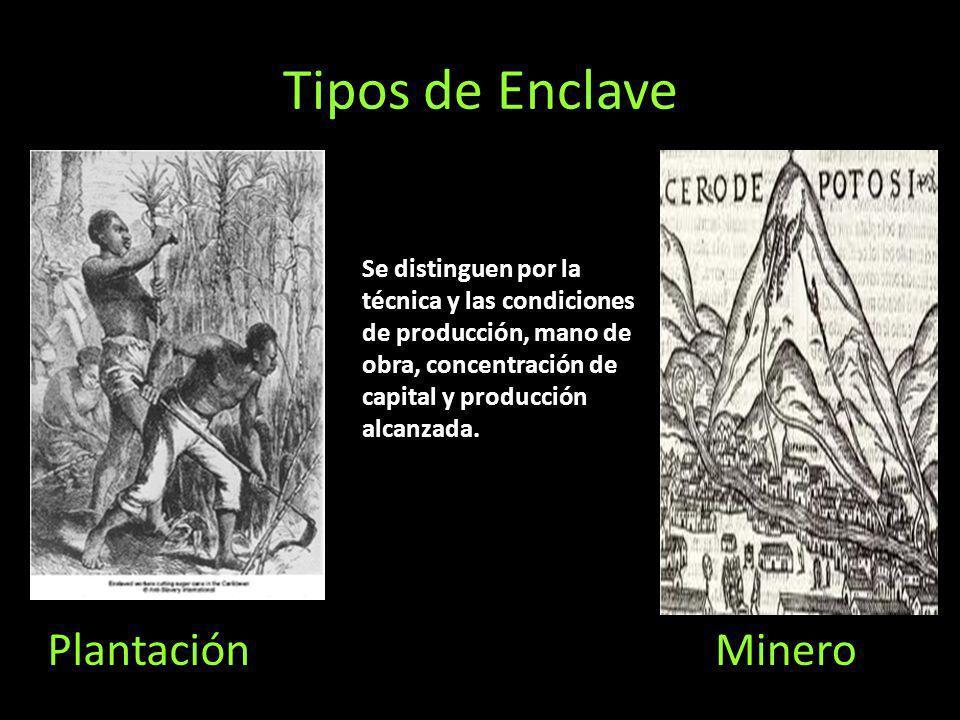 Tipos de Enclave MineroPlantación Se distinguen por la técnica y las condiciones de producción, mano de obra, concentración de capital y producción al