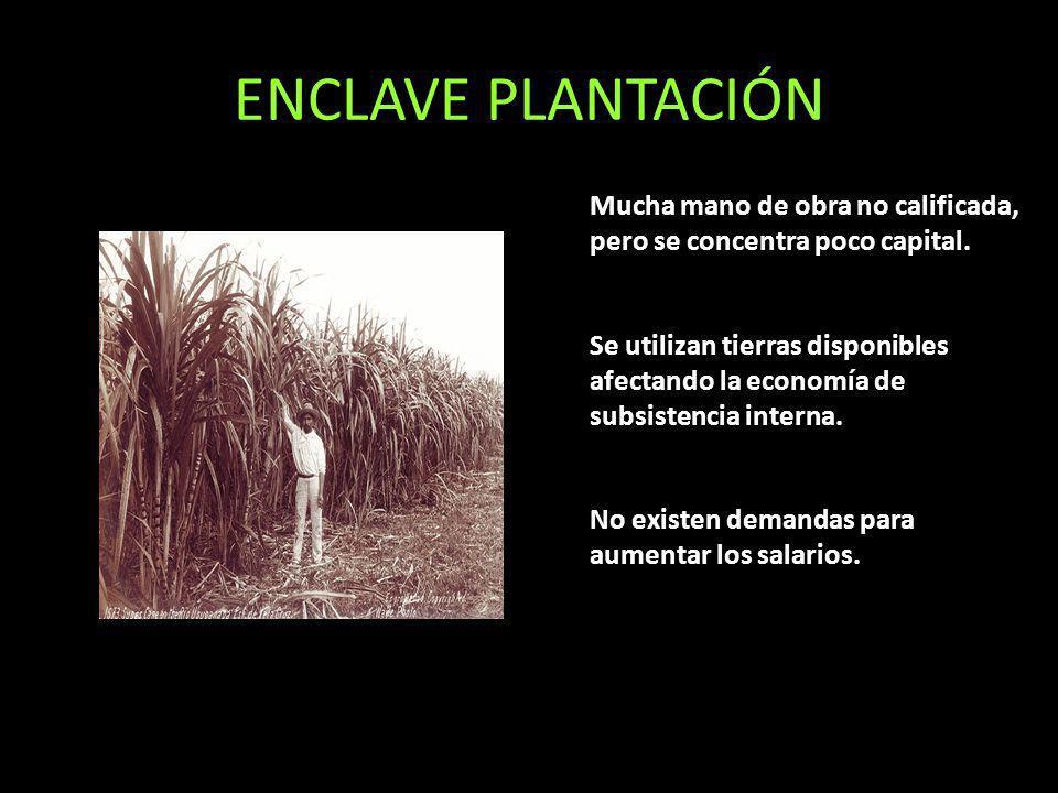 ENCLAVE PLANTACIÓN Mucha mano de obra no calificada, pero se concentra poco capital. Se utilizan tierras disponibles afectando la economía de subsiste