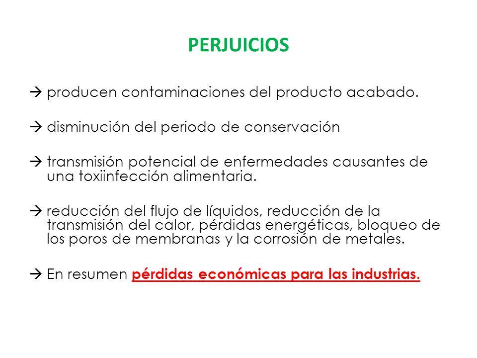 PERJUICIOS producen contaminaciones del producto acabado.