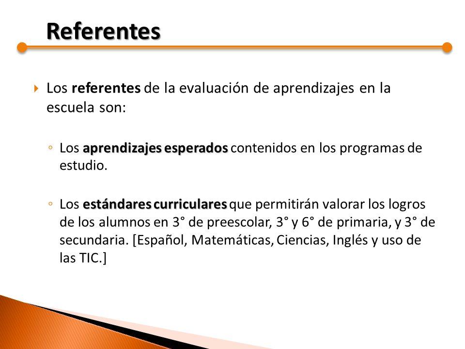 Los referentes de la evaluación de aprendizajes en la escuela son: aprendizajes esperados Los aprendizajes esperados contenidos en los programas de es