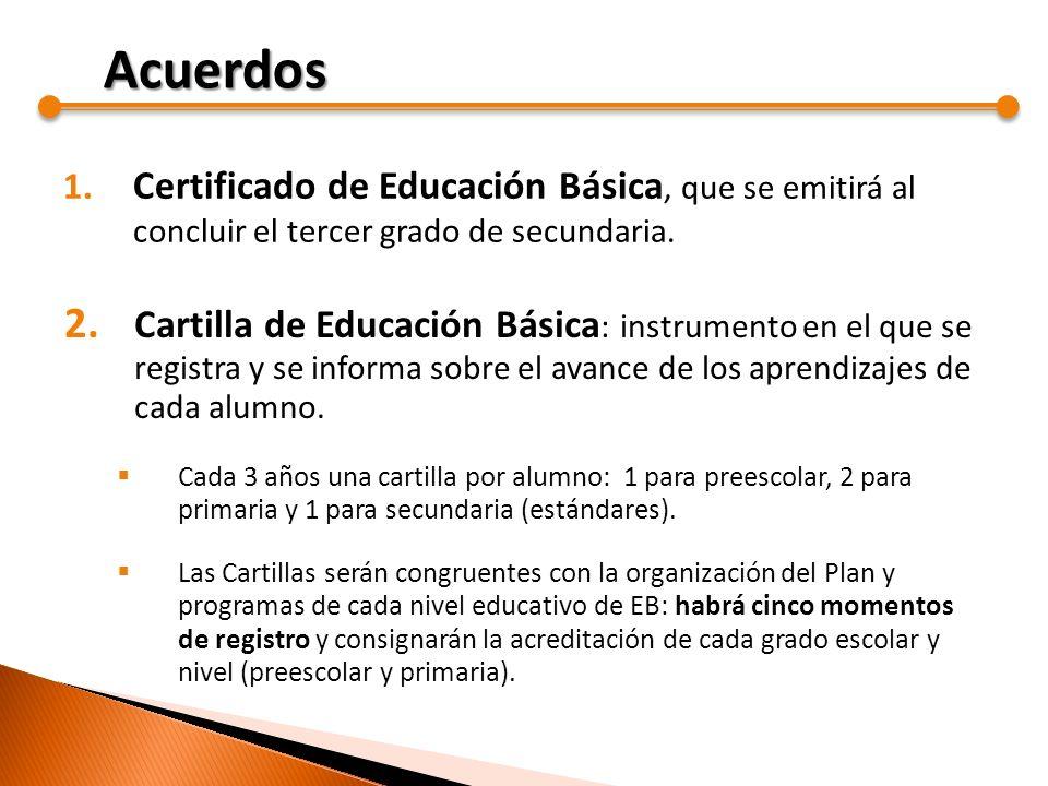1. Certificado de Educación Básica, que se emitirá al concluir el tercer grado de secundaria. 2. Cartilla de Educación Básica : instrumento en el que