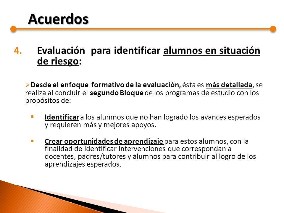 4. Evaluación para identificar alumnos en situación de riesgo: Desde el enfoque formativo de la evaluación, ésta es más detallada, se realiza al concl