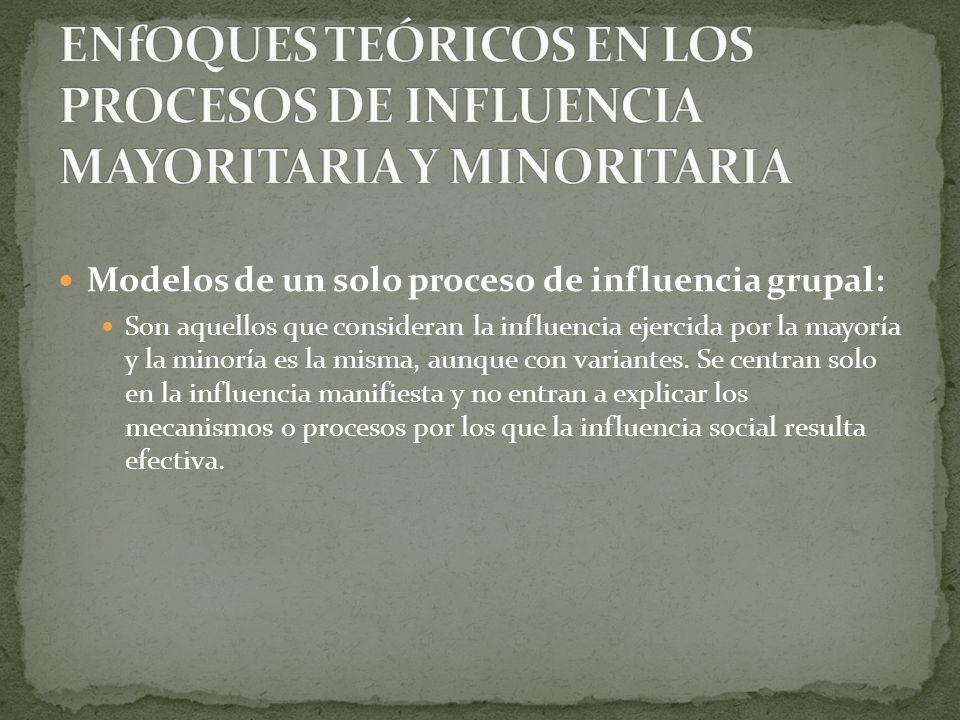 Modelos de un solo proceso de influencia grupal: Son aquellos que consideran la influencia ejercida por la mayoría y la minoría es la misma, aunque co