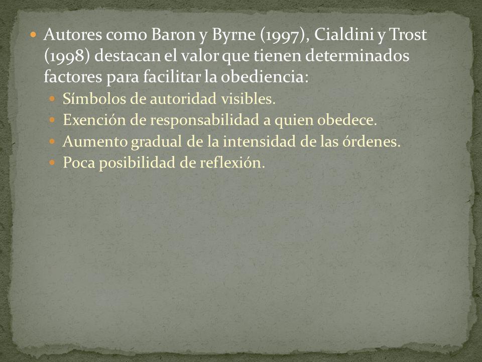 Autores como Baron y Byrne (1997), Cialdini y Trost (1998) destacan el valor que tienen determinados factores para facilitar la obediencia: Símbolos d