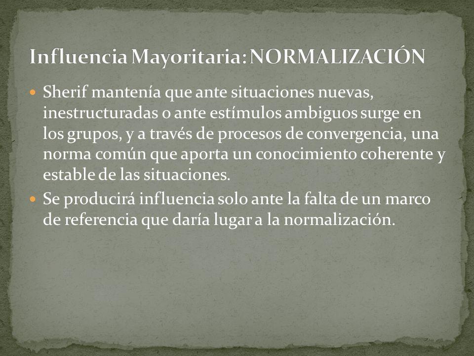 Los efectos de la conformidad no son invariables, sino que dependen de diferentes condiciones: Número de la mayoría: la conformidad aumenta progresivamente hasta una mayoría de personas (tres).