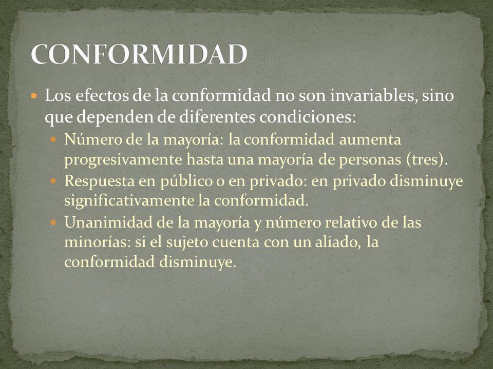 Los efectos de la conformidad no son invariables, sino que dependen de diferentes condiciones: Número de la mayoría: la conformidad aumenta progresiva