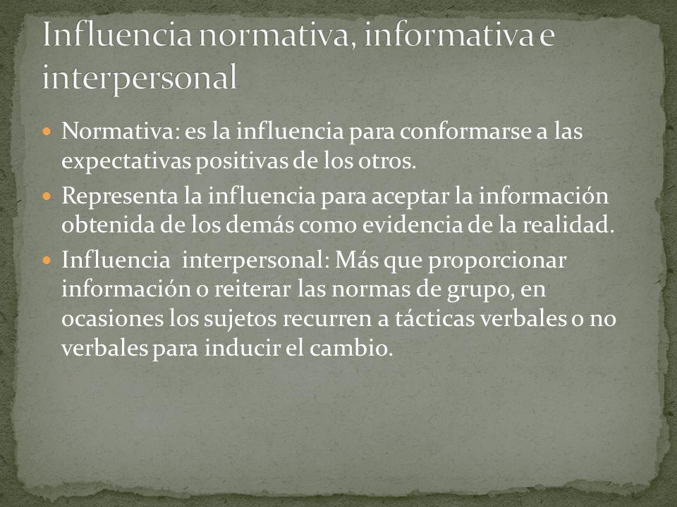 Normativa: es la influencia para conformarse a las expectativas positivas de los otros. Representa la influencia para aceptar la información obtenida