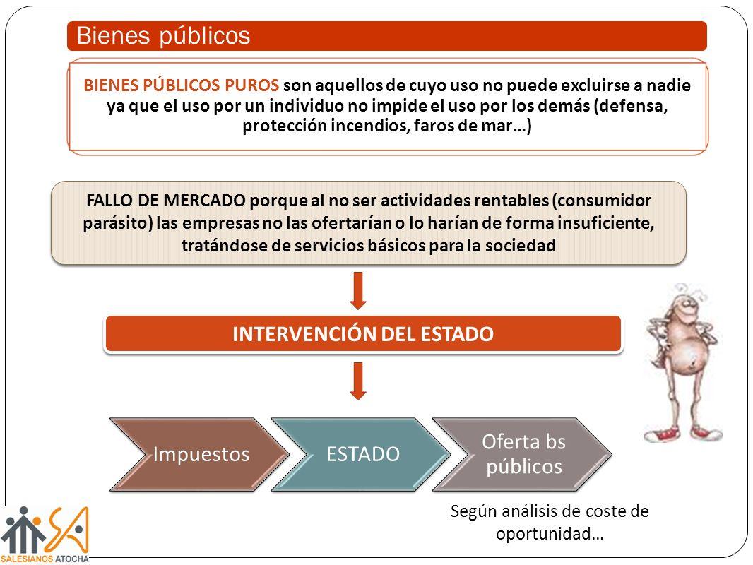 Bienes públicos FALLO DE MERCADO porque al no ser actividades rentables (consumidor parásito) las empresas no las ofertarían o lo harían de forma insu