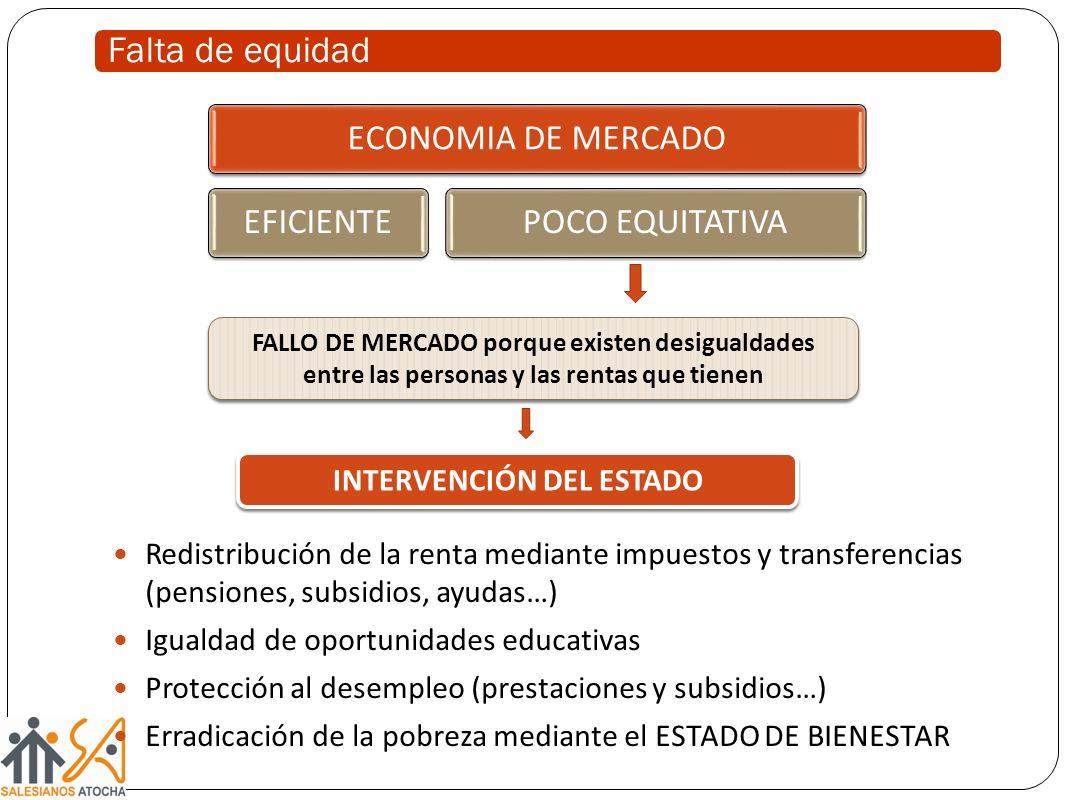 ECONOMIA DE MERCADOEFICIENTEPOCO EQUITATIVA Redistribución de la renta mediante impuestos y transferencias (pensiones, subsidios, ayudas…) Igualdad de