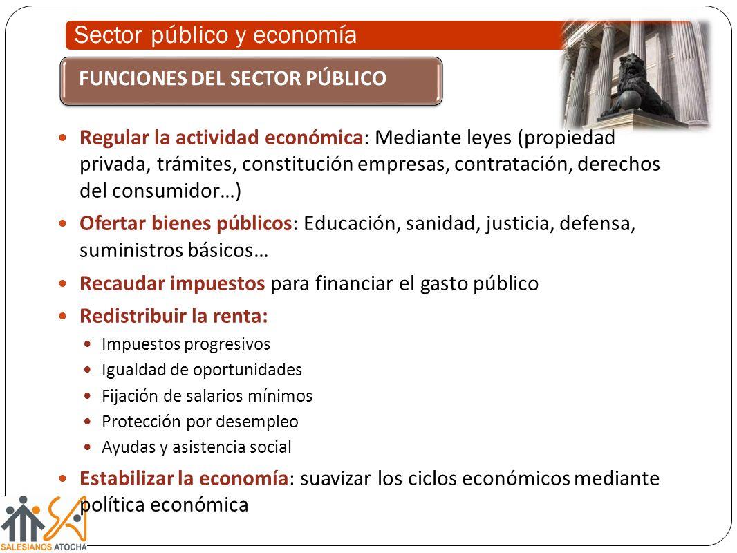 Sector público y economía Regular la actividad económica: Mediante leyes (propiedad privada, trámites, constitución empresas, contratación, derechos d