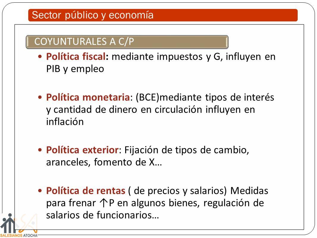 Sector público y economía Política fiscal: mediante impuestos y G, influyen en PIB y empleo Política monetaria: (BCE)mediante tipos de interés y canti