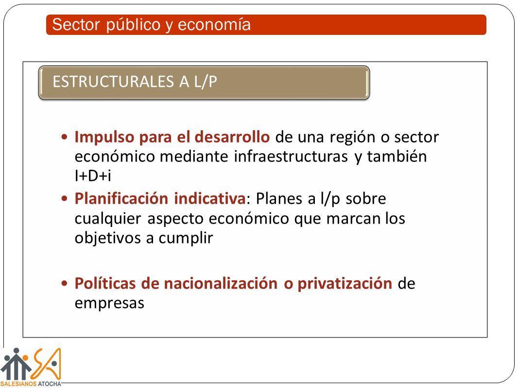 Sector público y economía Impulso para el desarrollo de una región o sector económico mediante infraestructuras y también I+D+i Planificación indicati