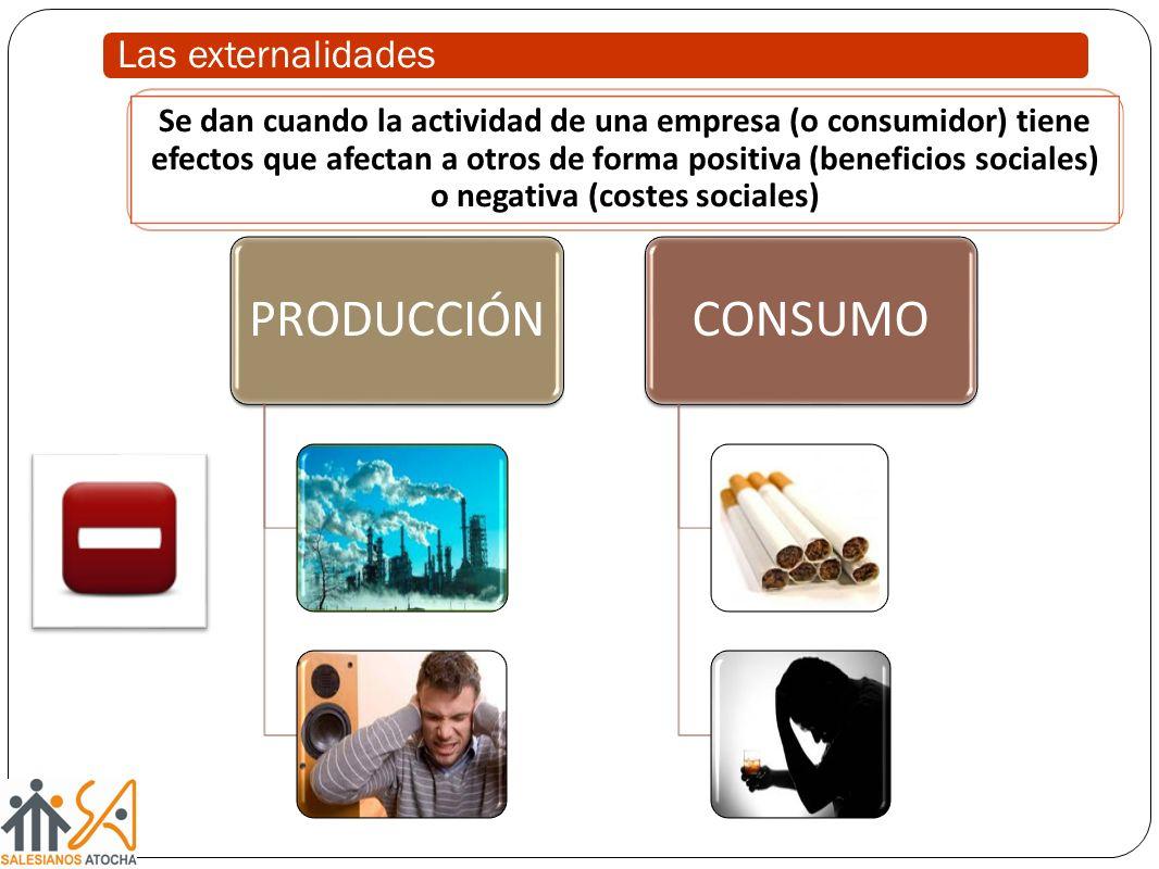 Las externalidades PRODUCCIÓNCONSUMO Se dan cuando la actividad de una empresa (o consumidor) tiene efectos que afectan a otros de forma positiva (ben
