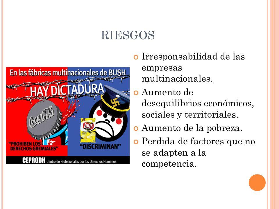 RIESGOS Irresponsabilidad de las empresas multinacionales. Aumento de desequilibrios económicos, sociales y territoriales. Aumento de la pobreza. Perd