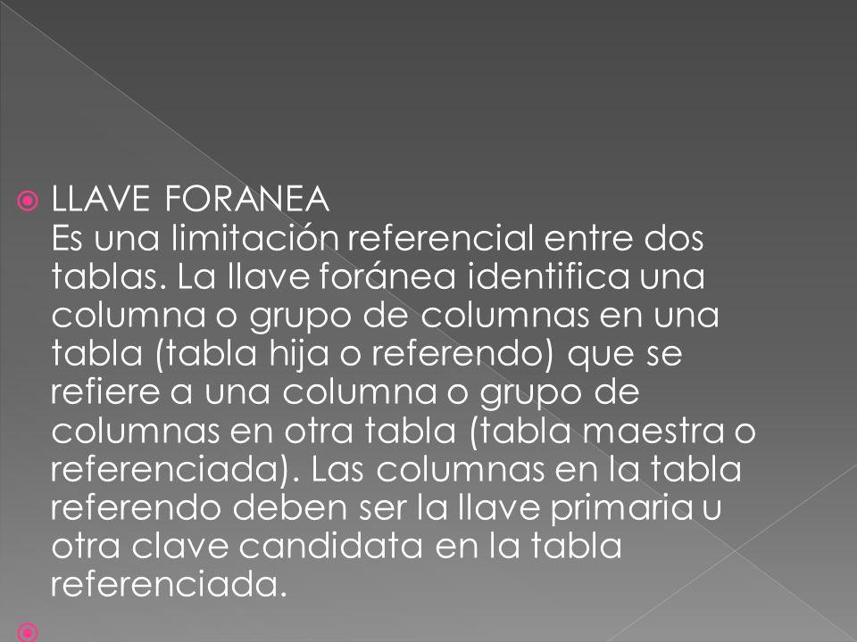 LLAVE FORANEA Es una limitación referencial entre dos tablas. La llave foránea identifica una columna o grupo de columnas en una tabla (tabla hija o r