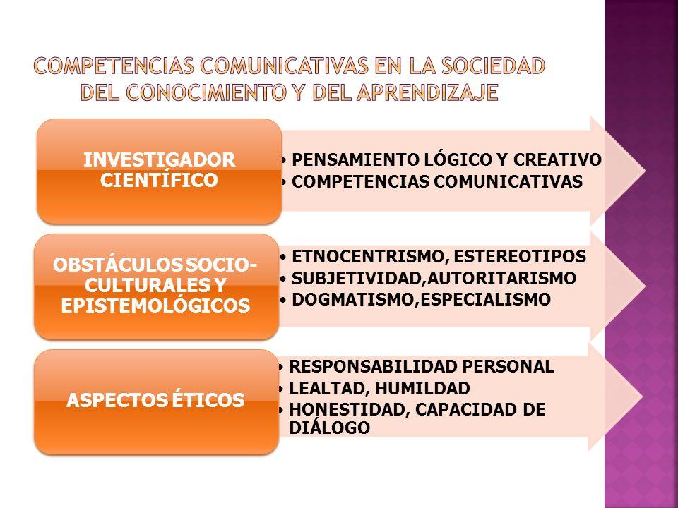 PENSAMIENTO LÓGICO Y CREATIVO COMPETENCIAS COMUNICATIVAS INVESTIGADOR CIENTÍFICO ETNOCENTRISMO, ESTEREOTIPOS SUBJETIVIDAD,AUTORITARISMO DOGMATISMO,ESP