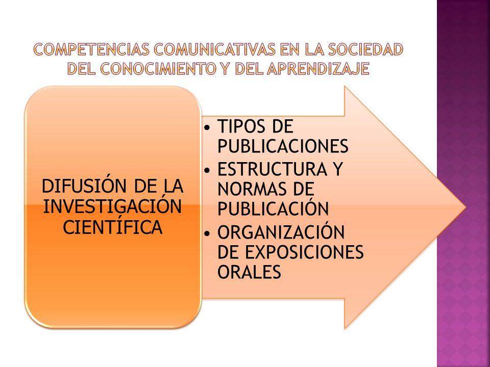 TIPOS DE PUBLICACIONES ESTRUCTURA Y NORMAS DE PUBLICACIÓN ORGANIZACIÓN DE EXPOSICIONES ORALES DIFUSIÓN DE LA INVESTIGACIÓN CIENTÍFICA
