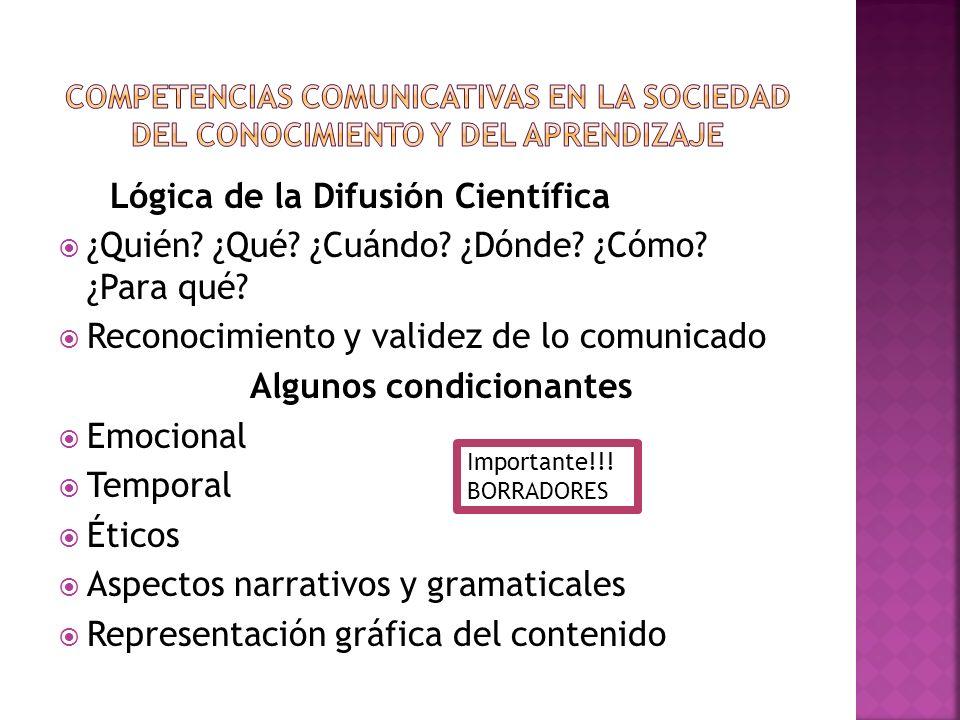 Lógica de la Difusión Científica ¿Quién? ¿Qué? ¿Cuándo? ¿Dónde? ¿Cómo? ¿Para qué? Reconocimiento y validez de lo comunicado Algunos condicionantes Emo