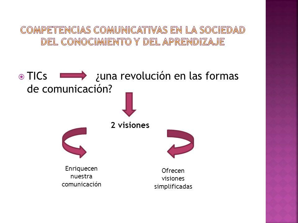 TICs ¿una revolución en las formas de comunicación? 2 visiones Enriquecen nuestra comunicación Ofrecen visiones simplificadas