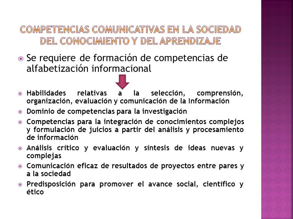 Se requiere de formación de competencias de alfabetización informacional Habilidades relativas a la selección, comprensión, organización, evaluación y