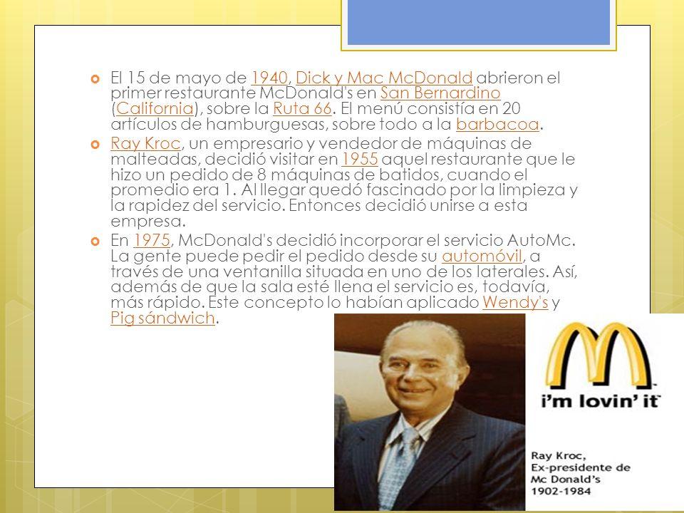 El 15 de mayo de 1940, Dick y Mac McDonald abrieron el primer restaurante McDonald's en San Bernardino (California), sobre la Ruta 66. El menú consist