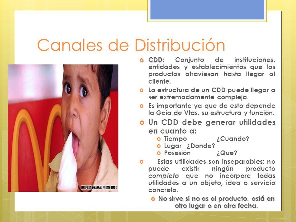 Canales de Distribución CDD: CDD: Conjunto de instituciones, entidades y establecimientos que los productos atraviesan hasta llegar al cliente. La est