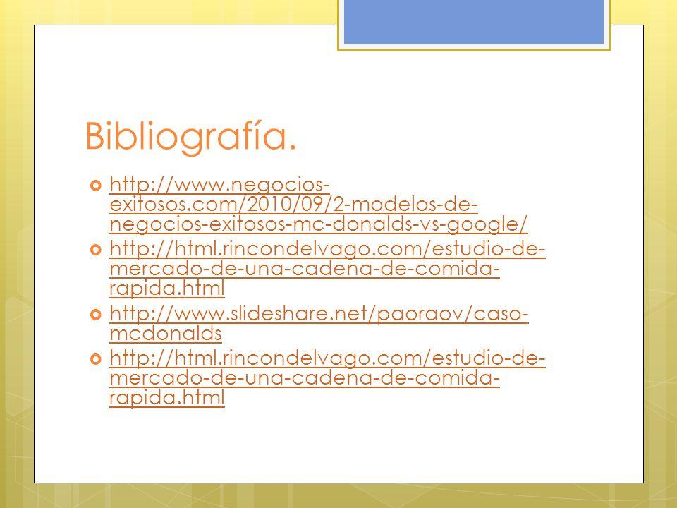 Bibliografía. http://www.negocios- exitosos.com/2010/09/2-modelos-de- negocios-exitosos-mc-donalds-vs-google/ http://www.negocios- exitosos.com/2010/0