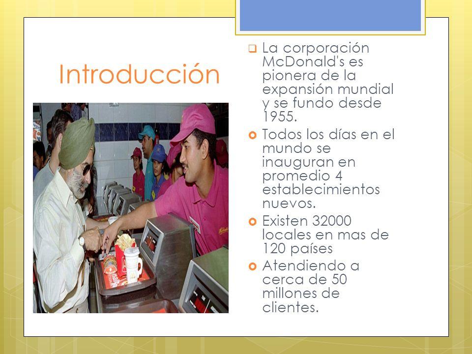 Introducción La corporación McDonald's es pionera de la expansión mundial y se fundo desde 1955. Todos los días en el mundo se inauguran en promedio 4