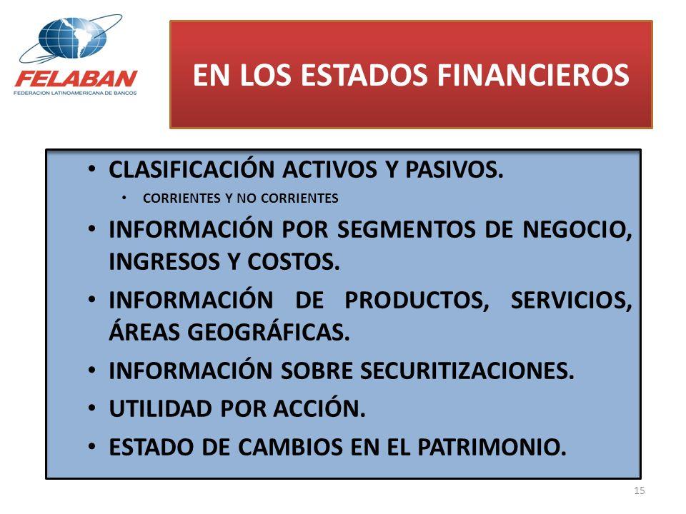 CLASIFICACIÓN ACTIVOS Y PASIVOS. CORRIENTES Y NO CORRIENTES INFORMACIÓN POR SEGMENTOS DE NEGOCIO, INGRESOS Y COSTOS. INFORMACIÓN DE PRODUCTOS, SERVICI