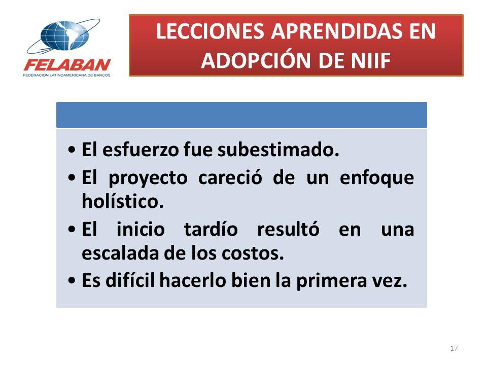 LECCIONES APRENDIDAS EN ADOPCIÓN DE NIIF 17 El esfuerzo fue subestimado. El proyecto careció de un enfoque holístico. El inicio tardío resultó en una
