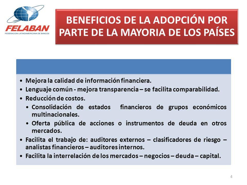 BENEFICIOS DE LA ADOPCIÓN POR PARTE DE LA MAYORIA DE LOS PAÍSES Mejora la calidad de información financiera. Lenguaje común - mejora transparencia – s