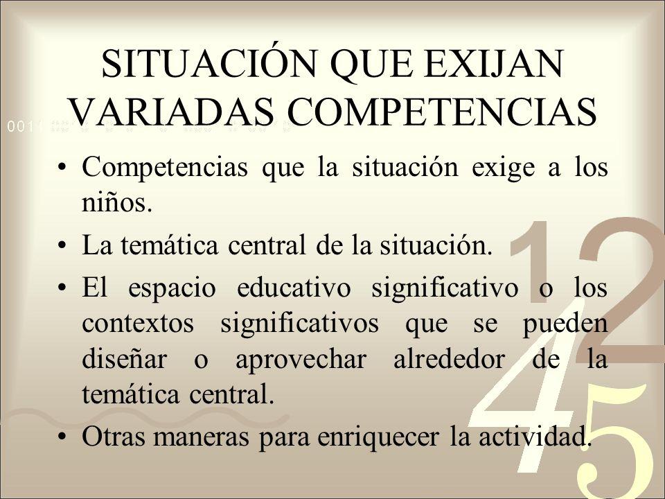 SITUACIÓN QUE EXIJAN VARIADAS COMPETENCIAS Competencias que la situación exige a los niños. La temática central de la situación. El espacio educativo