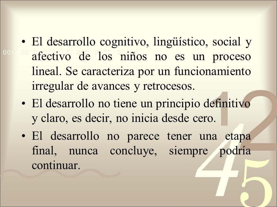El desarrollo cognitivo, lingüístico, social y afectivo de los niños no es un proceso lineal. Se caracteriza por un funcionamiento irregular de avance