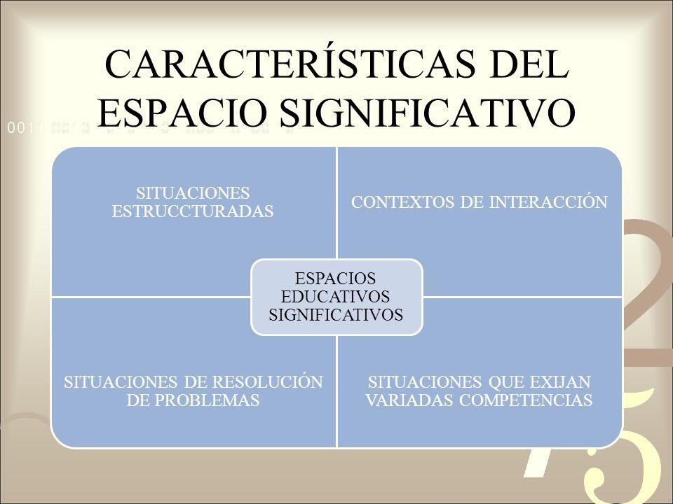 CARACTERÍSTICAS DEL ESPACIO SIGNIFICATIVO SITUACIONES ESTRUCCTURADAS CONTEXTOS DE INTERACCIÓN SITUACIONES DE RESOLUCIÓN DE PROBLEMAS SITUACIONES QUE E