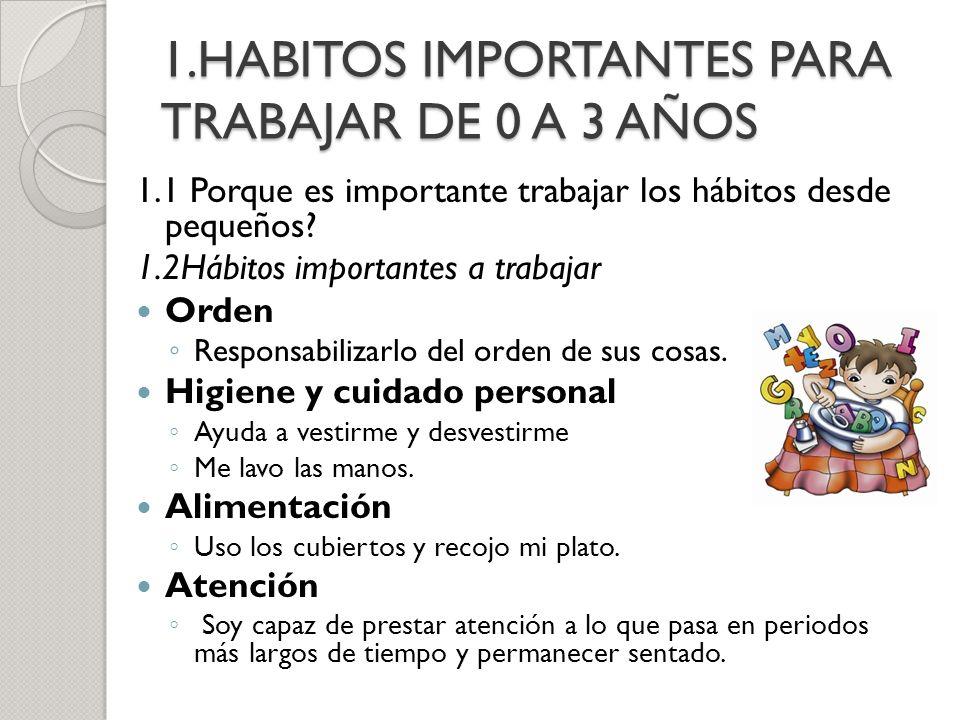 1.HABITOS IMPORTANTES PARA TRABAJAR DE 0 A 3 AÑOS 1.1 Porque es importante trabajar los hábitos desde pequeños? 1.2Hábitos importantes a trabajar Orde