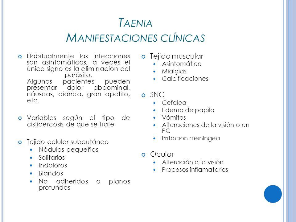T AENIA M ANIFESTACIONES CLÍNICAS Habitualmente las infecciones son asintomáticas, a veces el único signo es la eliminación del parásito.