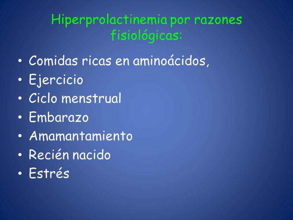 Hiperprolactinemia por razones fisiológicas: Comidas ricas en aminoácidos, Ejercicio Ciclo menstrual Embarazo Amamantamiento Recién nacido Estrés