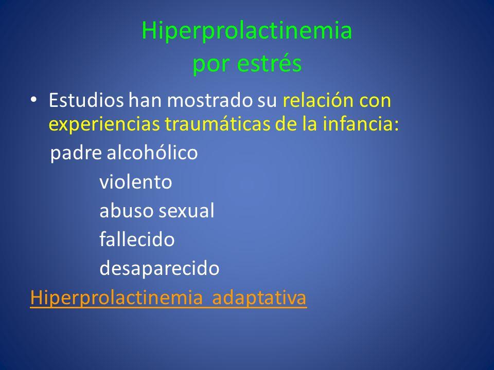 Hiperprolactinemia por estrés Estudios han mostrado su relación con experiencias traumáticas de la infancia: padre alcohólico violento abuso sexual fa
