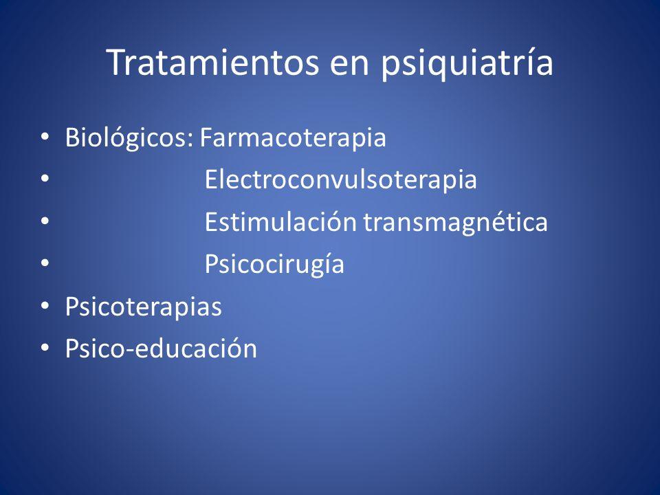 Tratamientos en psiquiatría Biológicos: Farmacoterapia Electroconvulsoterapia Estimulación transmagnética Psicocirugía Psicoterapias Psico-educación