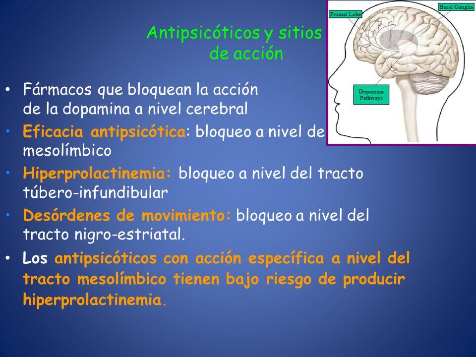 Antipsicóticos y sitios de de acción Fármacos que bloquean la acción de la dopamina a nivel cerebral Eficacia antipsicótica: bloqueo a nivel del tract