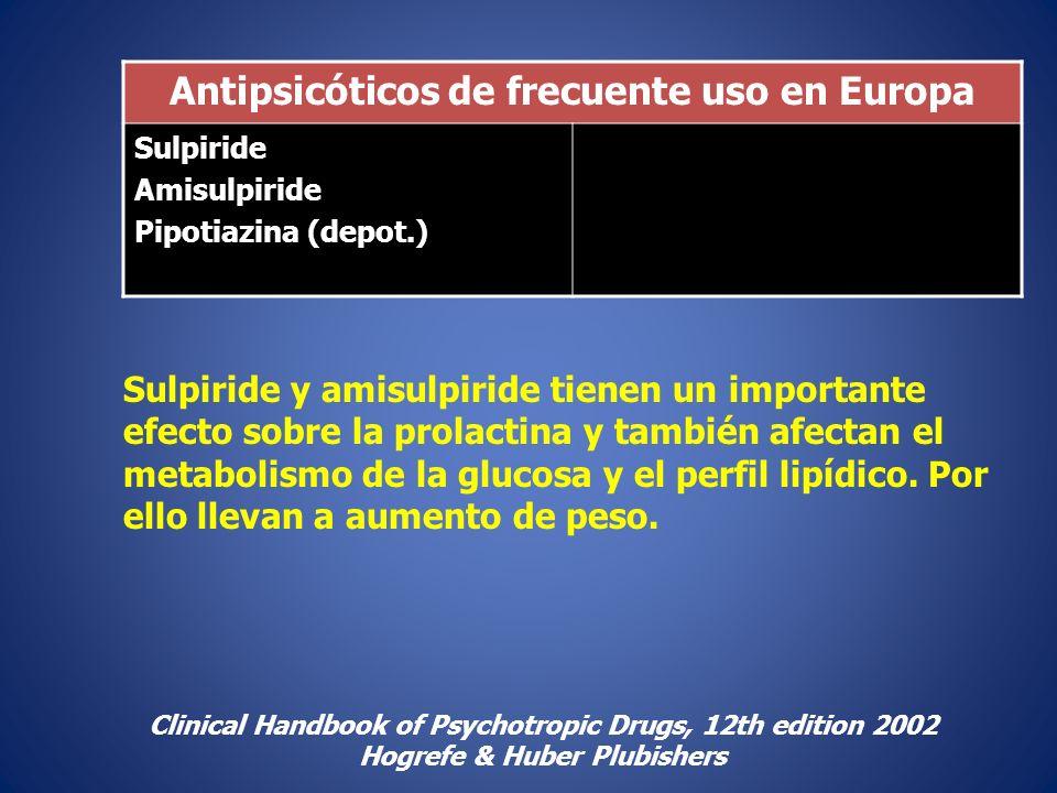 Antipsicóticos de frecuente uso en Europa Sulpiride Amisulpiride Pipotiazina (depot.) Clinical Handbook of Psychotropic Drugs, 12th edition 2002 Hogre