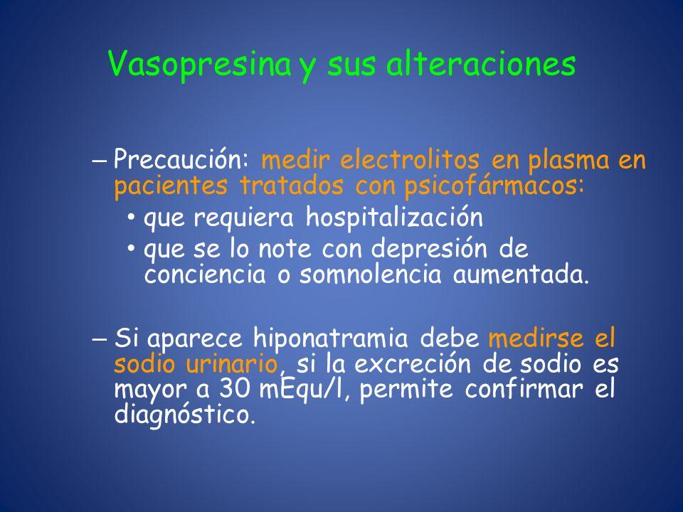 Vasopresina y sus alteraciones – Precaución: medir electrolitos en plasma en pacientes tratados con psicofármacos: que requiera hospitalización que se