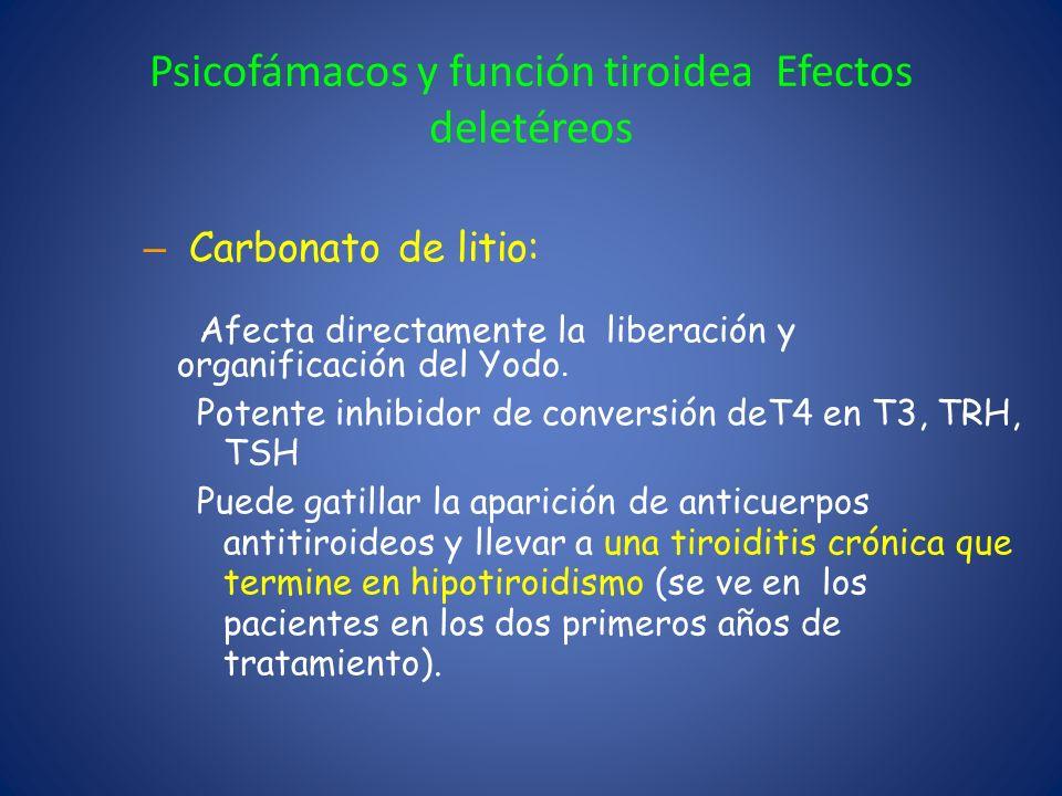 Psicofámacos y función tiroidea Efectos deletéreos – Carbonato de litio: Afecta directamente la liberación y organificación del Yodo. Potente inhibido