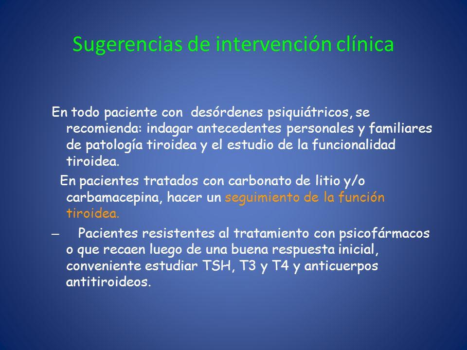 Sugerencias de intervención clínica En todo paciente con desórdenes psiquiátricos, se recomienda: indagar antecedentes personales y familiares de pato