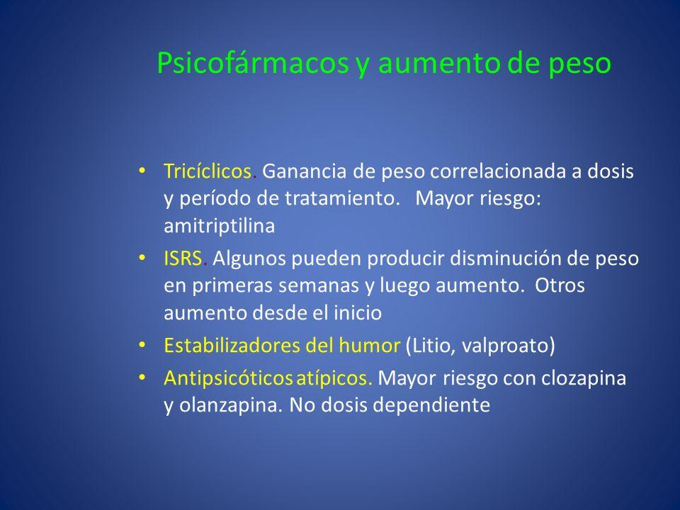 Psicofármacos y aumento de peso Tricíclicos. Ganancia de peso correlacionada a dosis y período de tratamiento. Mayor riesgo: amitriptilina ISRS. Algun