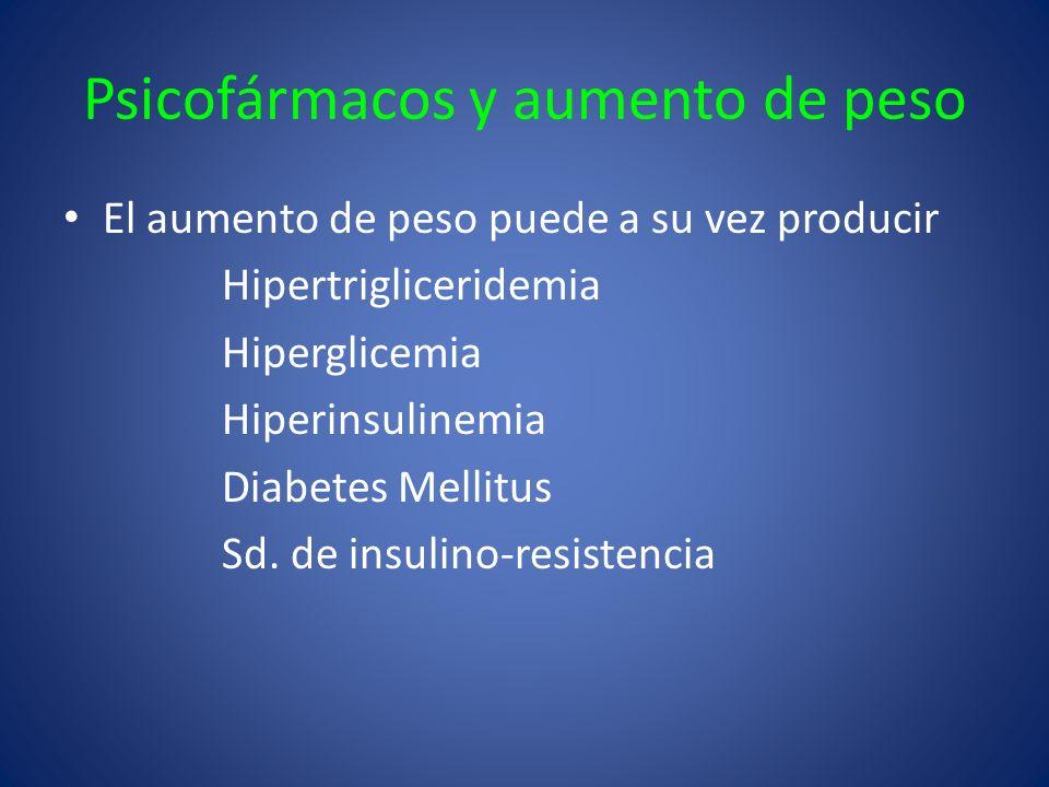 Psicofármacos y aumento de peso El aumento de peso puede a su vez producir Hipertrigliceridemia Hiperglicemia Hiperinsulinemia Diabetes Mellitus Sd. d