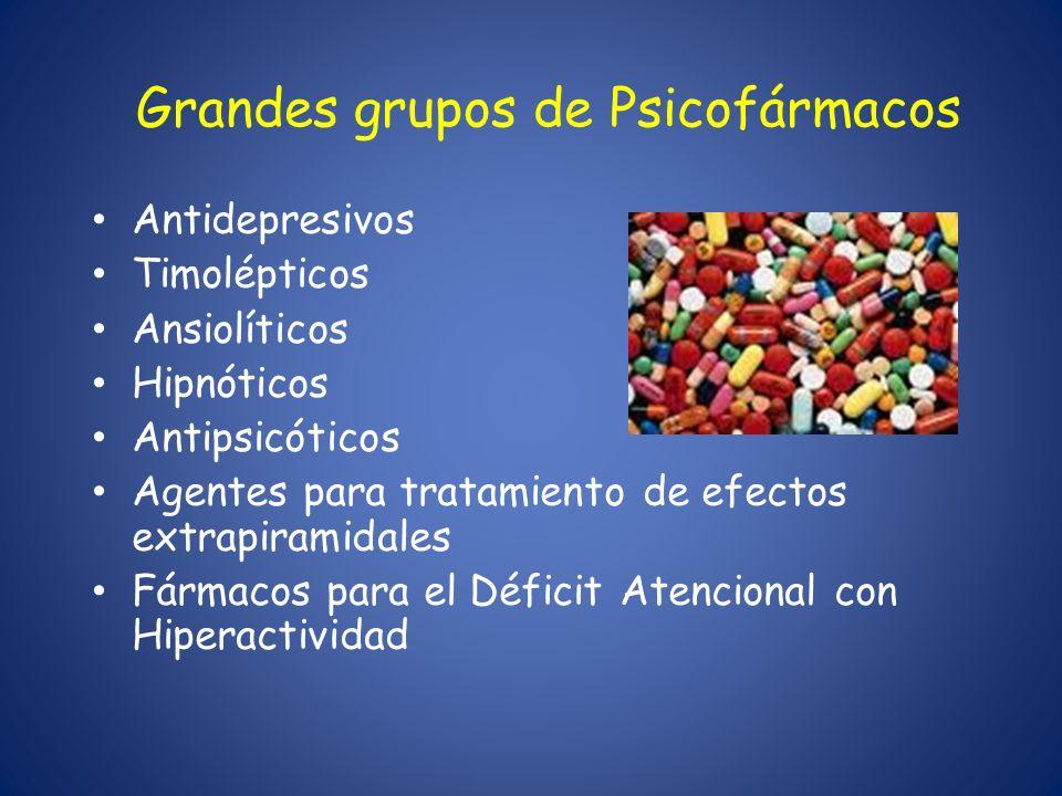 Grandes grupos de Psicofármacos Antidepresivos Timolépticos Ansiolíticos Hipnóticos Antipsicóticos Agentes para tratamiento de efectos extrapiramidale