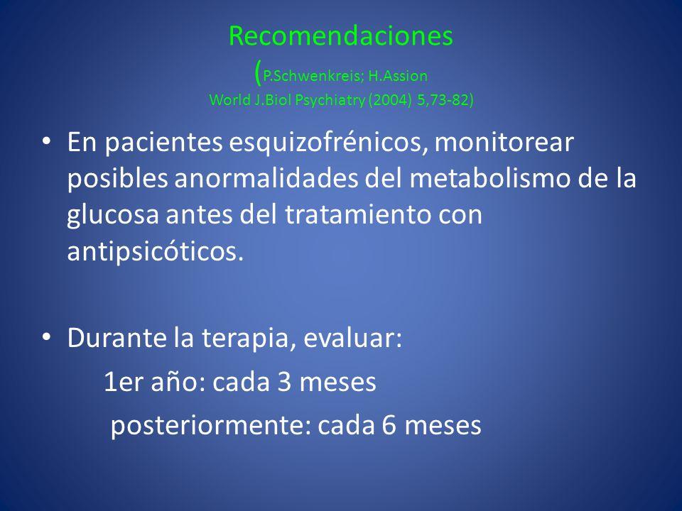 Recomendaciones ( P.Schwenkreis; H.Assion World J.Biol Psychiatry (2004) 5,73-82) En pacientes esquizofrénicos, monitorear posibles anormalidades del